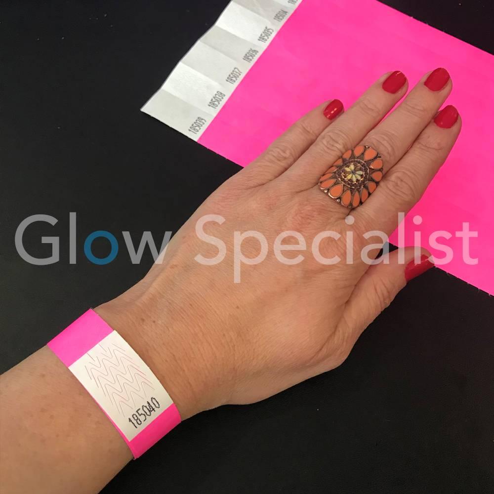 Neon Tyvek Wristband Pink