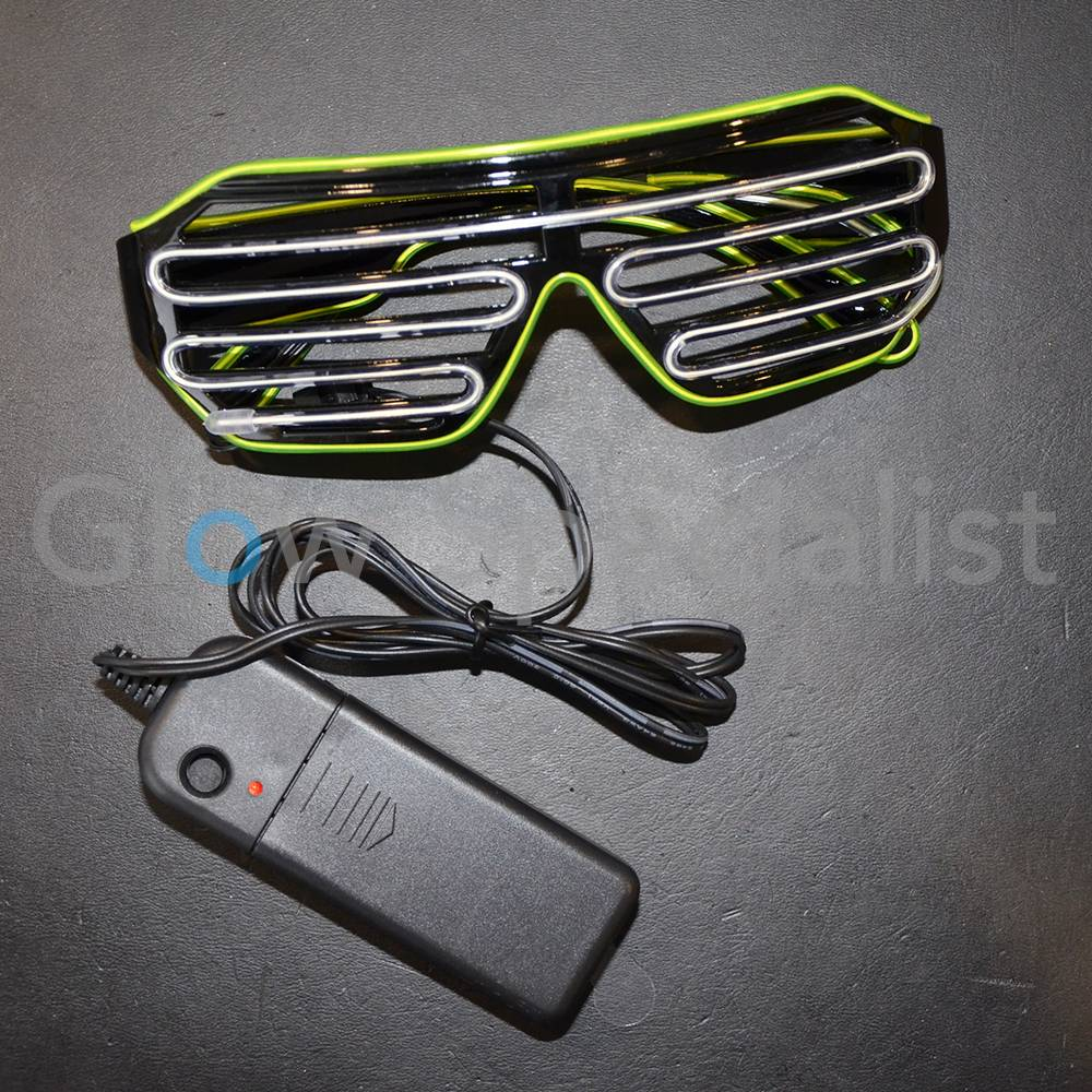 EL-WIRE SHUTTER GLASSES - BLACK FRAME - WHITE/YELLOW LED - Glow ...