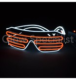 EL-WIRE SHUTTER GLASSES - BLACK FRAME - RED/WHITE LED