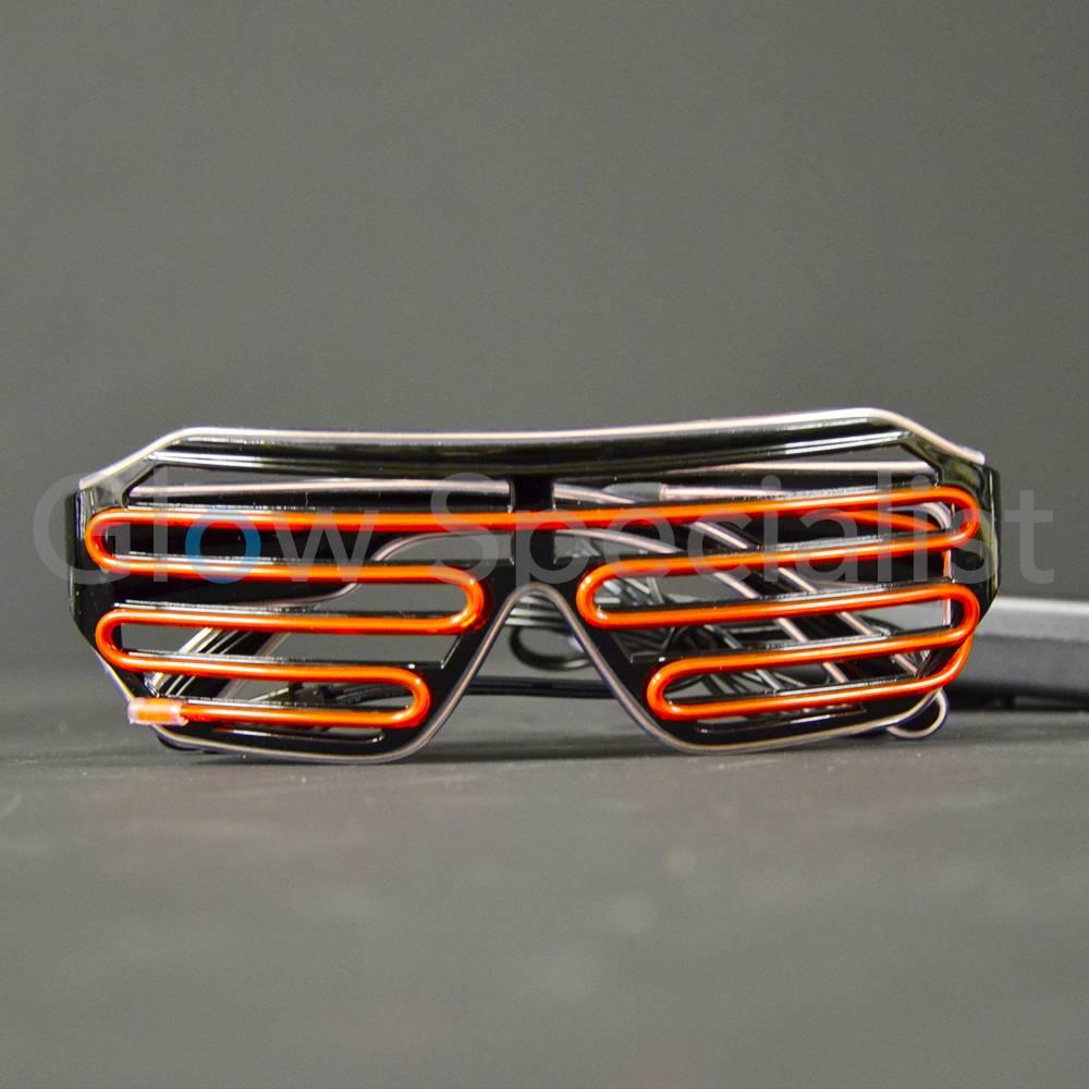 EL-WIRE SHUTTER GLASSES - BLACK FRAME - RED/WHITE LED - Glow ...