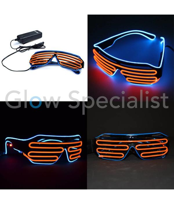 EL-WIRE SHUTTER GLASSES - BLACK FRAME - RED-ORANGE/BLUE LED