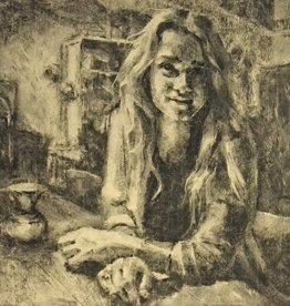 Andrew Zeegers Houtskoolportret in café Wadapartja
