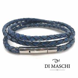 Vintage blauwe 4mm wikkel armband