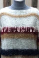 Patroon trui met strepen en boothals