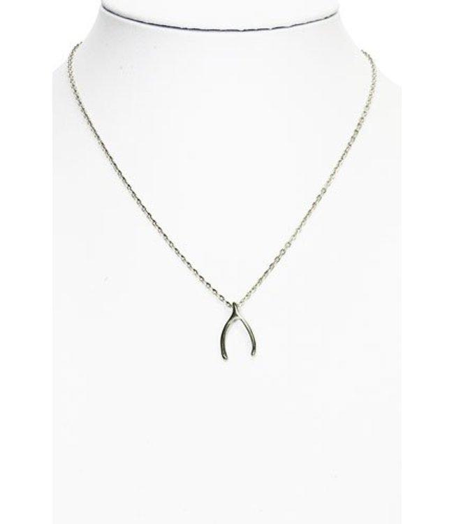 Wishbone ketting zilver