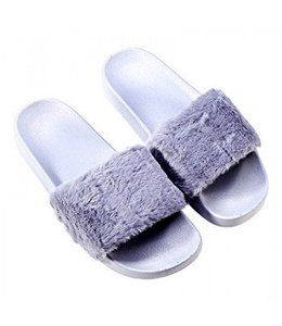 Furry Slides Grey