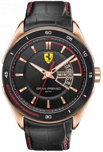 Scuderia Ferrari SCUDERIA FERRARI Mod. GRAN PREMIO GENT PVD ROSE GOLD LEATHER STRAP QUARTZ WR 50mt 45mm