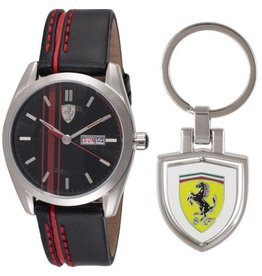 Scuderia Ferrari SCUDERIA FERRARI Mod. D50 SET OROLOGIO+PORTCHIAVI / WATCH+KEYCHAIN GENT QUARTZ LEATHER STRAP SS CASE WR 50mt 42mm