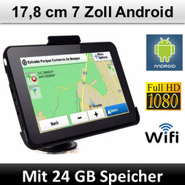 Elebest Navigationsgerät Android, 7 Zoll Display, WIFI, Radarwarner, 24 GB Speicher