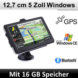Elebest Elebest Navigationsgerät Windows CE, 5 Zoll Display, Bluetooth, Radarwarner