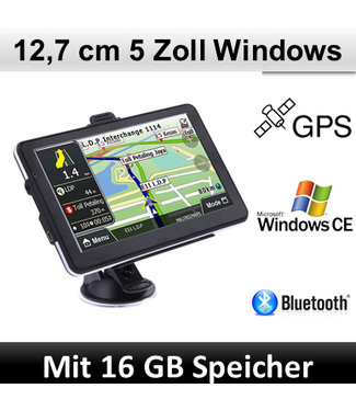 Elebest Elebest Navigationsgerät Windows CE, 5 Zoll Display, Bluetooth, Radarwarner