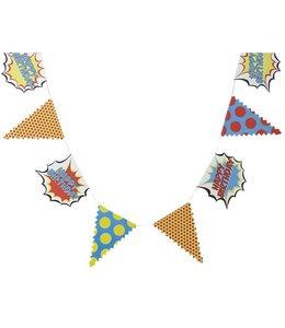 Ginger Ray Pop Art Superhelden Vlaggenlijn Happy Birthday - 3,5 meter