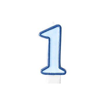 Partydeco 1 jaar Taartkaarsje Blauw - 6 cm