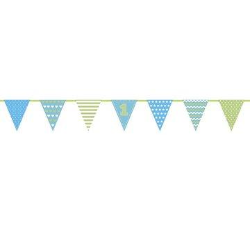 Partydeco 1 jaar Vlaggenlijn Blauw & Groen - 1,35 meter - papier
