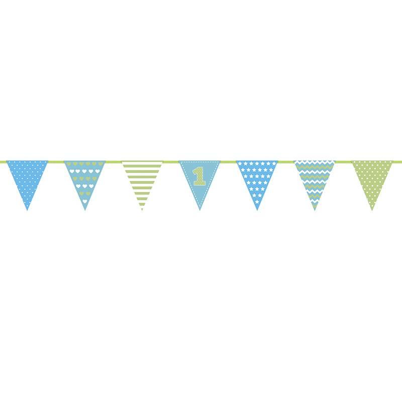 1 jaar vlaggenlijn blauw groen hieppp for Deco slaapkamer jongen jaar