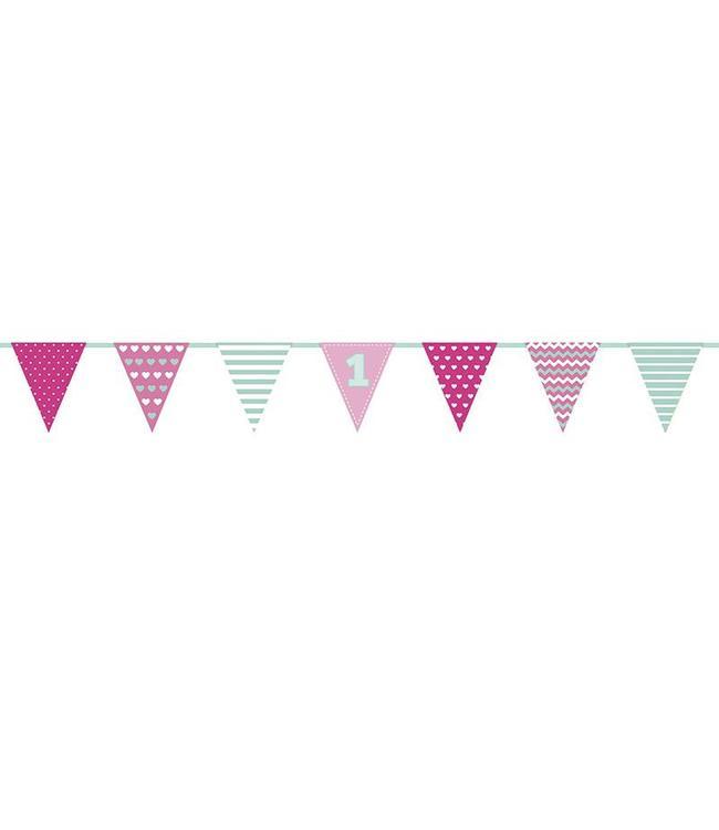 Partydeco 1 jaar Vlaggenlijn Roze & Mint - 1,35 meter - papier