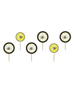 Partydeco Bijtjes Cupcake Toppers - 6 stuks