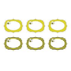 Partydeco Bijtjes Labels - 6 stuks - geel, zwart en wit
