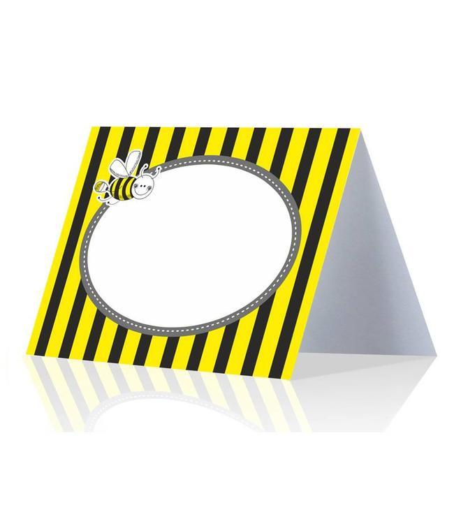 Partydeco Bijtjes Naambordjes - 6 stuks - geel, zwart en wit
