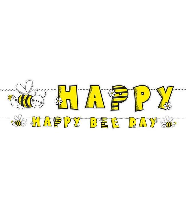 Partydeco Bijtjes Slinger 'Happy Bee Day' - 1,53 meter