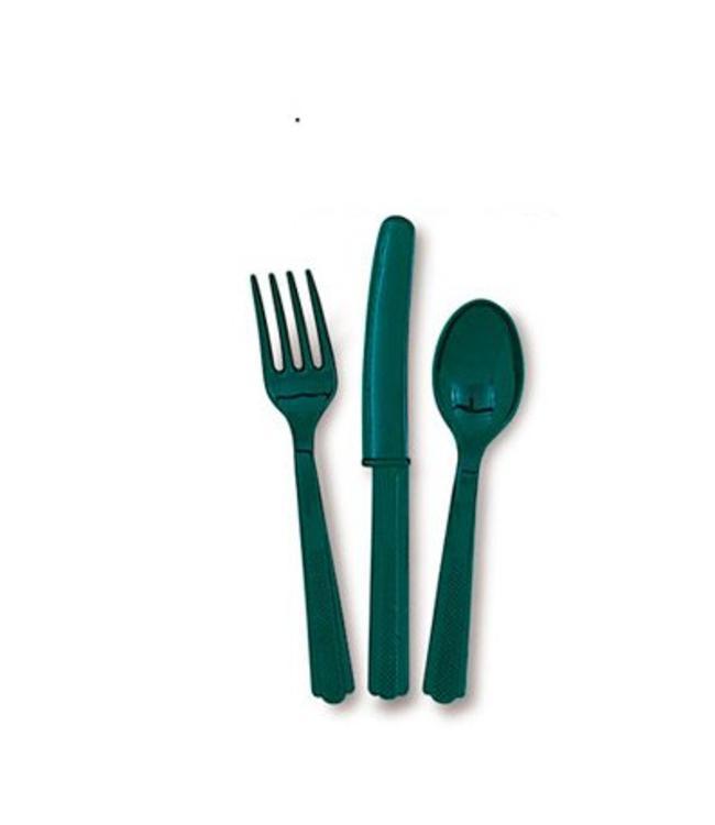 Unique Donkergroen Bestek - 18 stuks - plastic