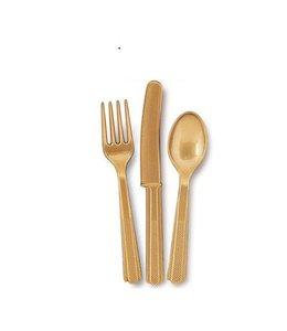Unique Goud Bestek - 18 stuks - plastic