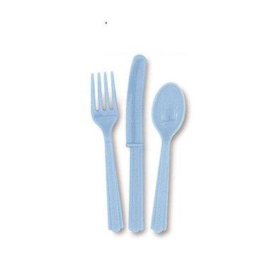Unique Lichtblauw Bestek - 18 stuks - plastic