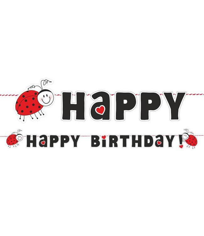 Partydeco Lieveheersbeestjes Slinger 'Happy Birthday' - 1,8 meter