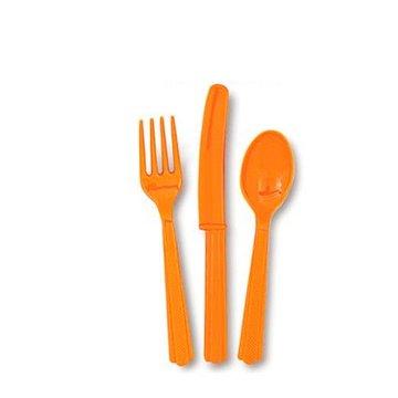 Unique Oranje Bestek - 18 stuks - plastic