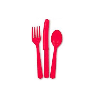 Unique Rood Bestek - 18 stuks - plastic
