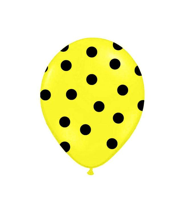 Partydeco Polka Dots Ballonnen Geel met Zwarte stippen - 6 stuks