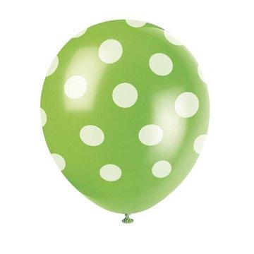 Partydeco Polka Dots Ballonnen Groen met Witte stippen - 6 stuks