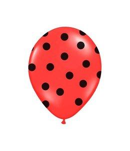 Partydeco Polka Dots Ballonnen Rood met Zwarte stippen - 6 stuks