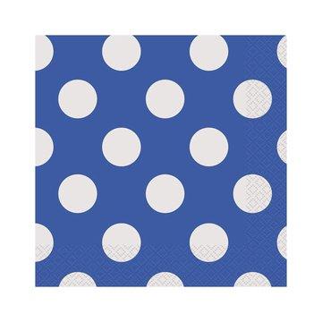 Unique Polka Dots Servetten Blauw met Witte stippen - 16 stuks