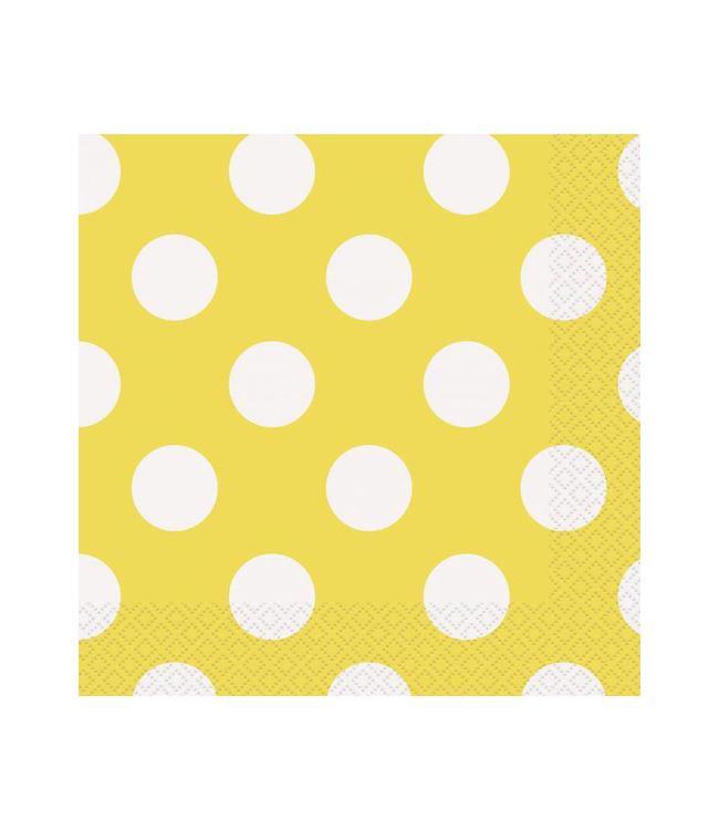 Unique Polka Dots Servetten Geel met Witte stippen - 16 stuks