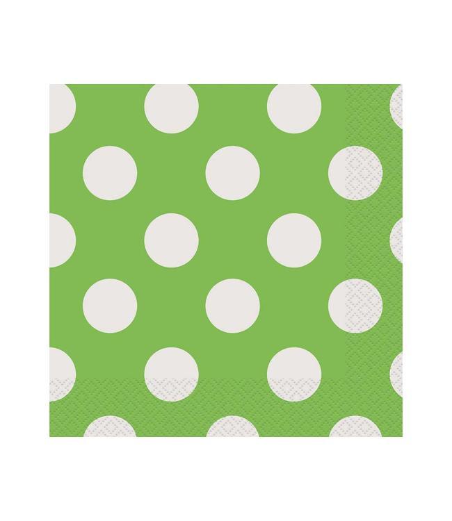 Unique Polka Dots Servetten Groen met Witte stippen - 16 stuks