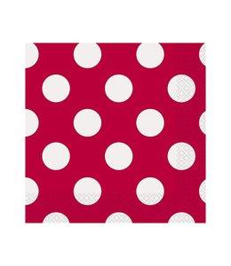 Unique Polka Dots Servetten Rood met Witte stippen - 16 stuks