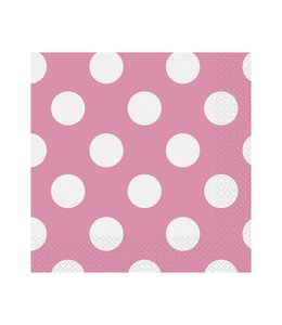 Unique Polka Dots Servetten Roze met Witte stippen - 16 stuks