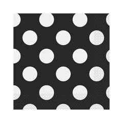 Unique Polka Dots Servetten Zwart met Witte stippen - 16 stuks