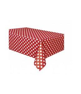 Unique Polka Dots Tafelkleed Rood met Witte stippen - 1,37 x 2,74 meter