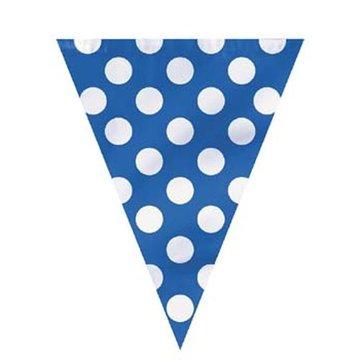 Unique Polka Dots Vlaggenlijn Blauw met Witte stippen - 3,6 meter