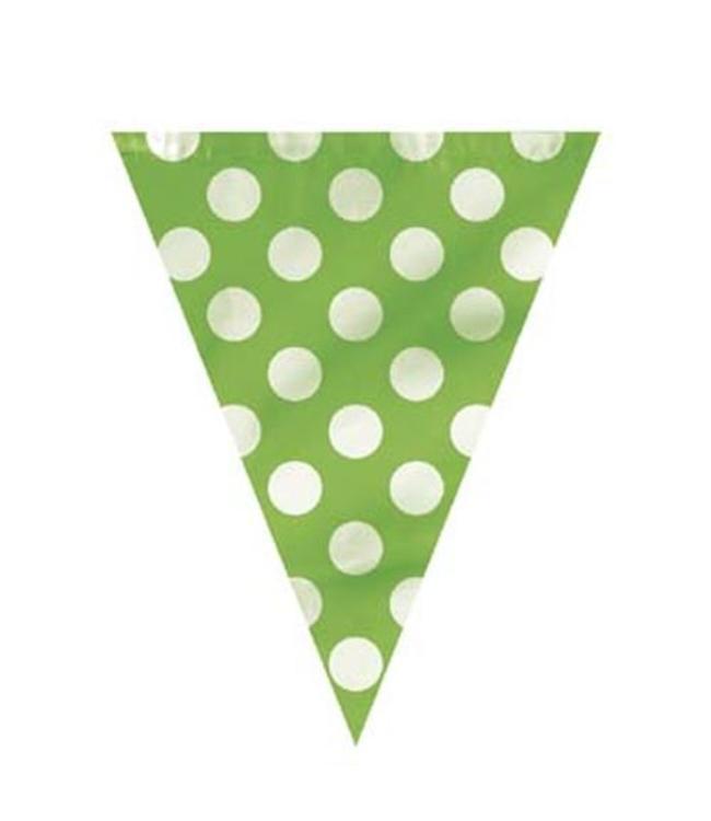 Unique Polka Dots Vlaggenlijn Groen met Witte stippen - 3,6 meter