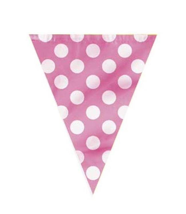 Unique Polka Dots Vlaggenlijn Roze met Witte stippen - 3,6 meter
