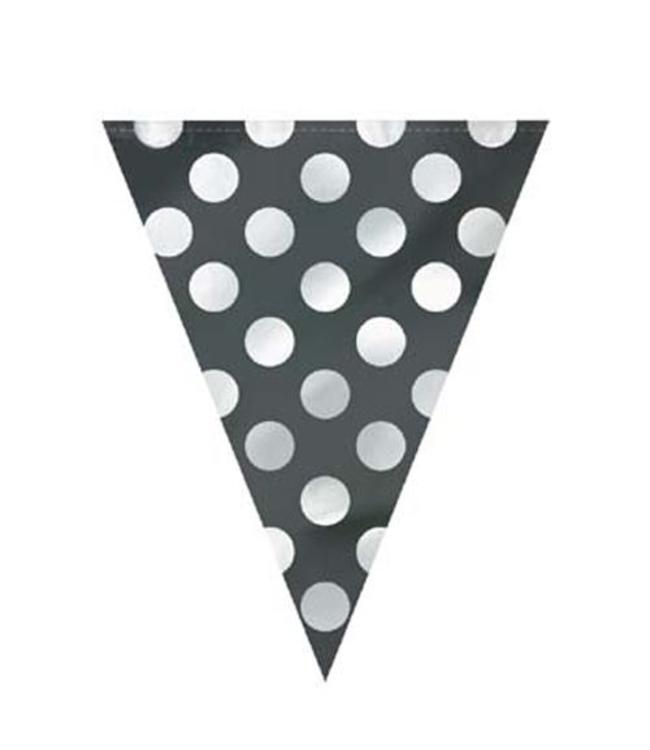 Unique Polka Dots Vlaggenlijn Zwart met Witte stippen- 3,6 meter