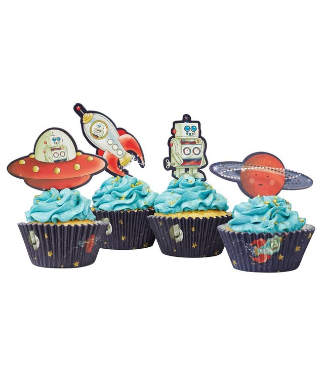 Ginger Ray Space Adventure Cupcakes Set - 20 toppers en 50 wrappers
