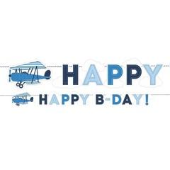 Partydeco Vliegtuigjes Slinger 'Happy B-Day' - 1,73 meter - karton