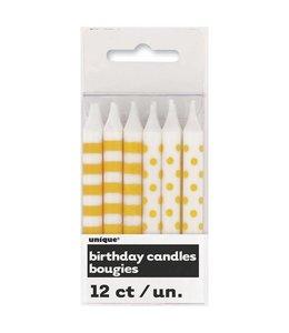 Unique Kaarsjes geel en wit (stippen en strepen) - 12 stuks