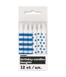 Unique Kaarsjes blauw en wit (stippen en strepen) - 12 stuks