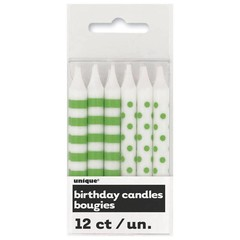 Unique Kaarsjes groen en wit (stippen en strepen) - 12 stuks
