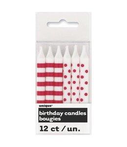 Unique Kaarsjes rood en wit (stippen en strepen) - 12 stuks